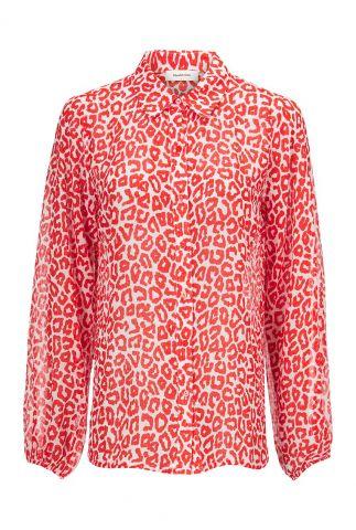 semi transparante blouse met luipaard print lana print shirt