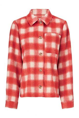 rood geruite jas met knoopsluiting lexi coatigan