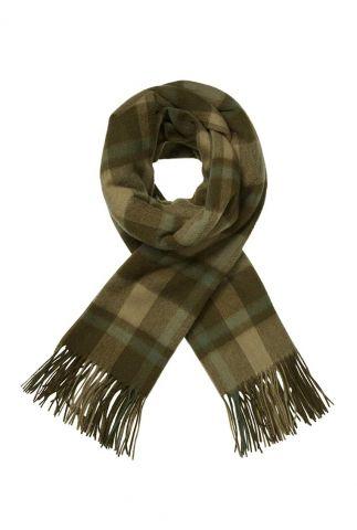 donker groene wollen sjaal met ruit dessin mirror check