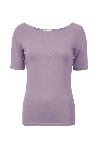 lila shirt met boothals van modalmix tansy top