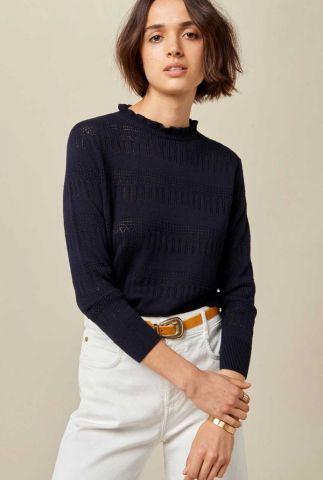 fijn gebreide trui met opengewerkte details mohni navy