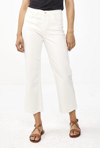 witte katoenen cropped broek met rechte pijpen mojo pant