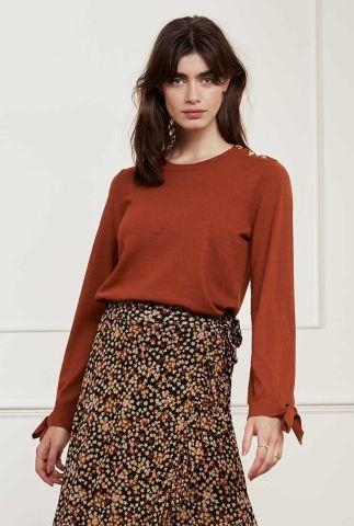 cognac kleurige trui met strikdetail op de mouwen molly bow pullover