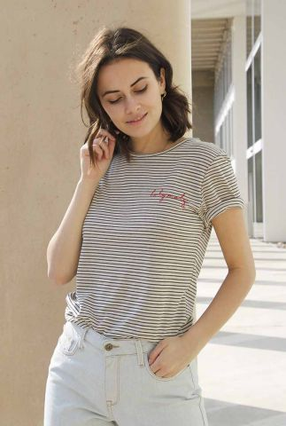 gestreepte linnenmix top met rode broderie holy moly stripes top