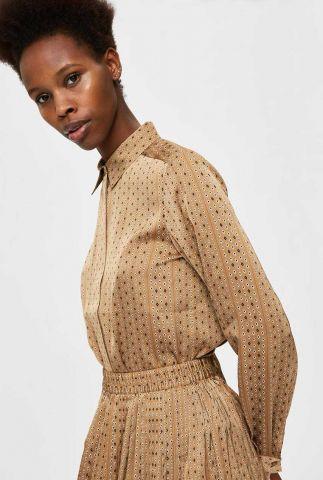 beige satijnen blouse met all-over print moni-odette shirt 16077601