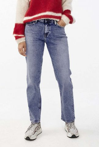 blauwe 5-pocket straight jeans mook pant