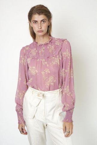 lila roze blouse met witte bloemen print mories blouse