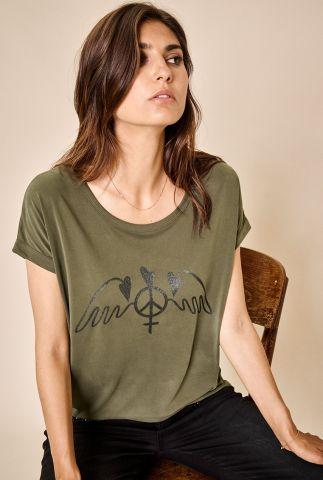 groene modal top met glitter logo alba ss tee 134930