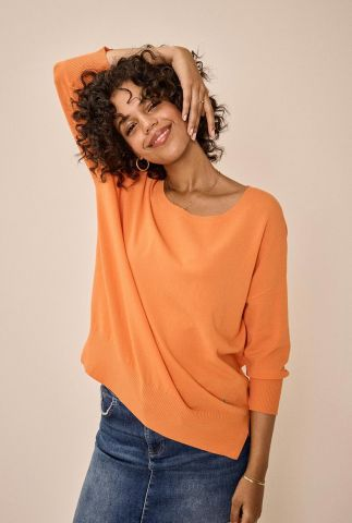 oranje trui met loose fit en ronde hals pitch 3/4 knit 136650