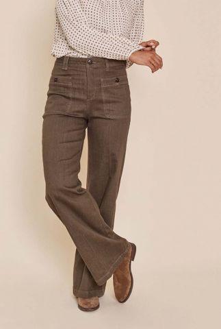 donkergroene flared broek colette balance pant 140690