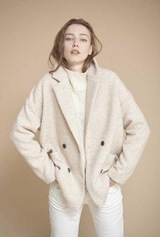 beige double breasted wolmix jas met visgraat patroon mouta