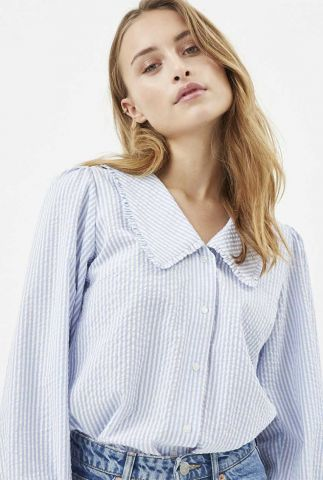 katoenen blouse met streep dessin en grote kraag safrina 2019