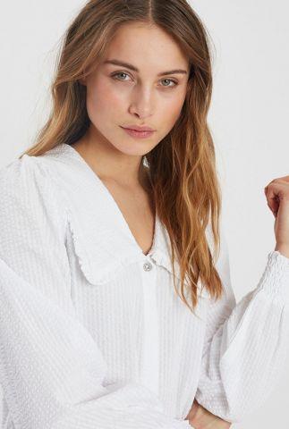 witte blouse met wafel dessin en ballon mouwen safrines 2019