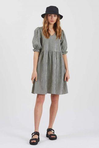 groene wijde jurk met pofmouwen en ruit dessin nirello 2253