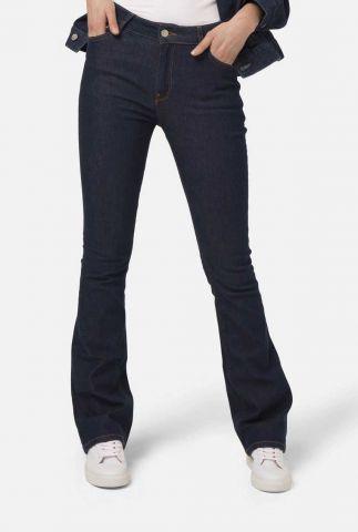 duurzame donker blauwe flared jeans fl hazen blue