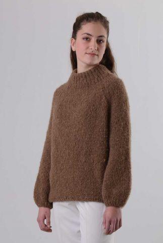 zachte trui met ballonmouwen van baby alpaca wol naomi my1161