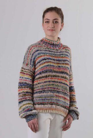 multi colour gebreide trui van baby alpaca my1175