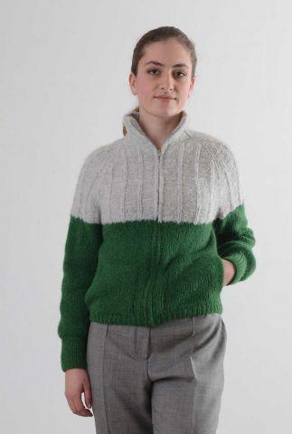 licht grijs met groen vest met ritssluiting van alpaca wolmix my4106
