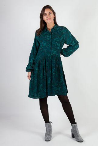 donker groene jurk van viscose met blinde knoopsluiting Nagisa