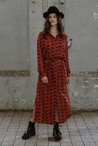 rode maxi jurk met lange mouwen en paarden print dress nalini