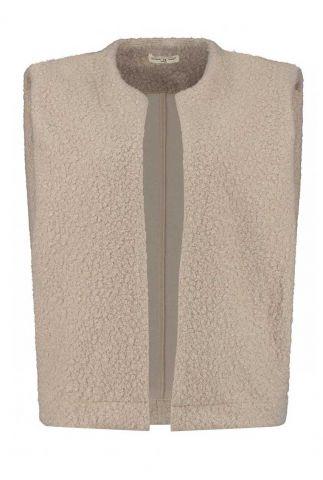 licht bruine bodywarmer van teddy stof nana jacket w21.161.5452