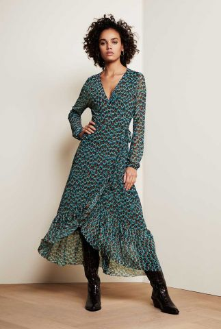 blauwe overslag jurk met all-over pauwen print Natasja Frill Dress