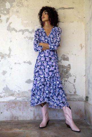 crème kleurige overslag jurk met bloemen print natasja frill dress