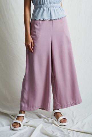 oud roze wijde broek met cropped pijpen en elastische band nywtr195