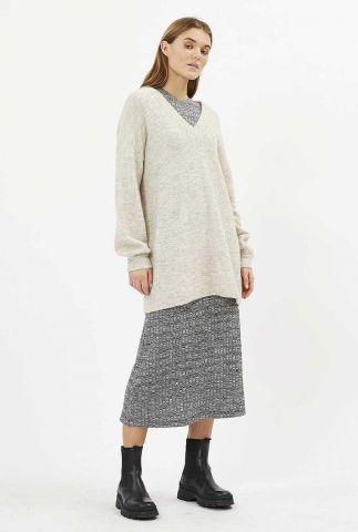 half lange beige gemêleerde trui met v-hals necka 9073