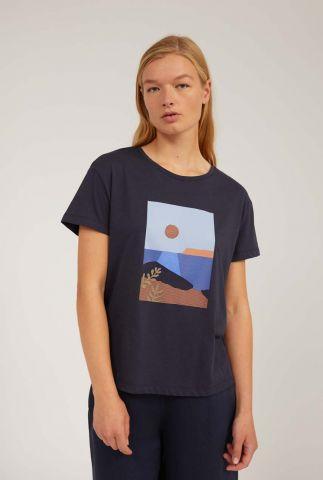 donkerblauw t-shirt met zomerse opdruk nelaa calm sea 30002905