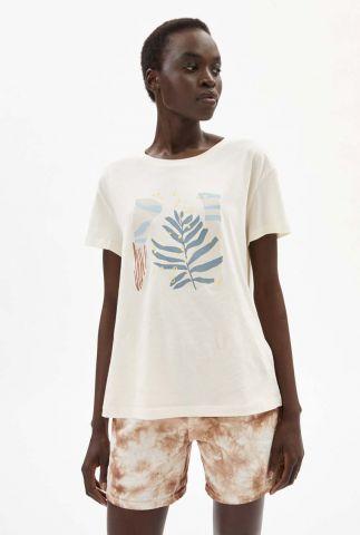 crème t-shirt van ongebleekt katoen met print nelaa 30002901