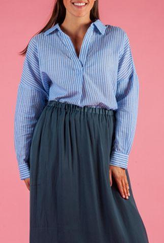 licht blauwe katoenen top met streep dessin new jackie shirt