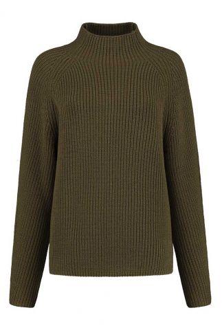 donker groene grof gebreide trui nila knit w21.121.2453