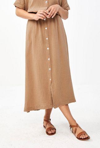 licht bruine midi rok met wafelstructuur nine skirt