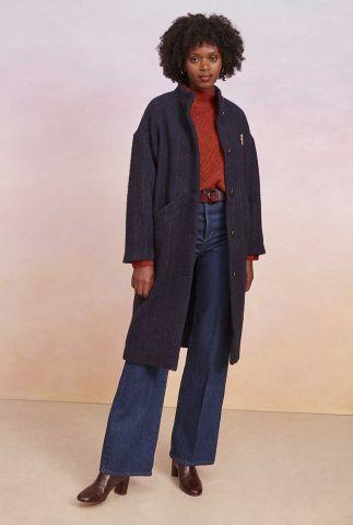 donker blauwe mantel jas met rood doorgestikt patroon ninou