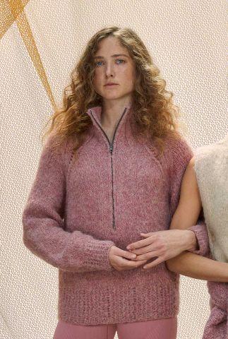 zachte alpaca wolmix trui met rits en ingebreide details ninky my7116