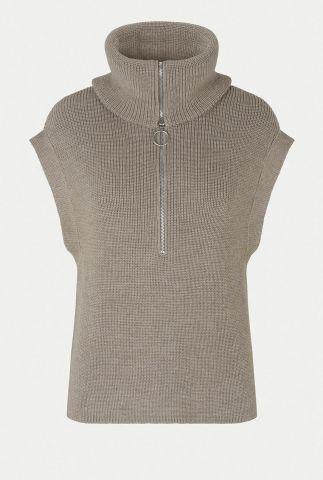 taupe kleurige trui met hoge colkraag en rits nola knit vest