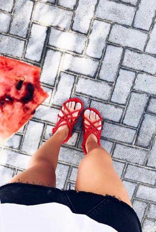 gevlochten sandalen met multi strap bandjes jc sandals