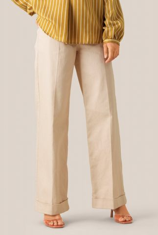 crème kleurige high waist broek met rechte pijpen nomio mw trousers