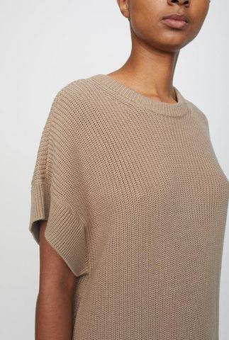 lange taupe kleurige trui met wijde pasvorm norm vest 13439