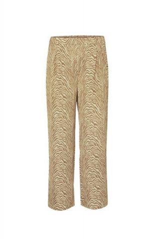 satijnen broek met wijde pijpen en bruine zebraprint rio pants