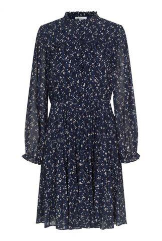 donker blauwe jurk met all-over print norrie short dress