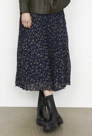 donker blauwe plissé rok met all-over print norrie skirt