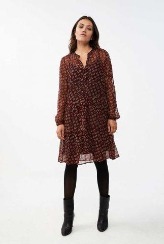 donker rode viscose jurk met bloemen dessin nouk daisy dress