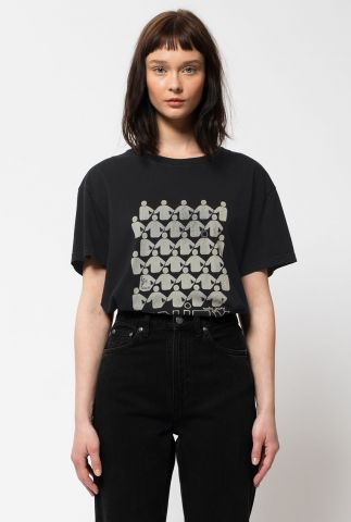 zwart katoenen t-shirt met witte opdruk tina unity 131724
