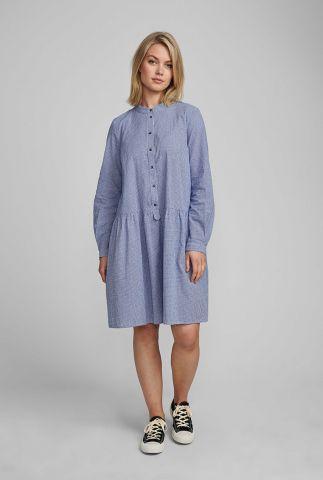 fijn geruite blauw met witte jurk nuebex ls dress 7420814