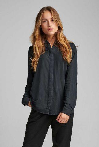 zwarte blouse van viscose mix nubethoc shirt 7520006
