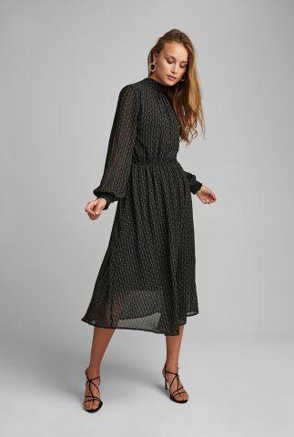 zwarte midi jurk met hoge hals en all-over print nucassie dress 700231