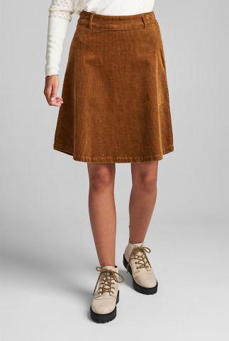 brons kleurige a-lijn rok met rib dessin numeghan skirt 7520113