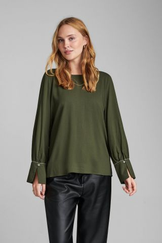donker groene viscose top met ronde hals nubrylie blouse 7520010